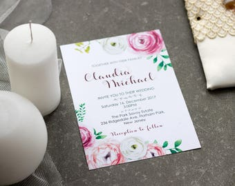Peony wedding invitation Floral wedding invite Watercolor wedding suite Printed wedding invitation suite Pink blush invitation template set