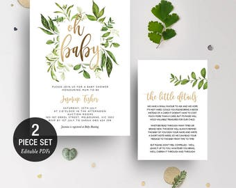 INSTANT DOWNLOAD Greenery Leaves Oh Baby Shower Invitation Printable Template - Gold Foil - BONUS Detail Card