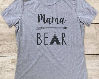 Mama Bear Boho Arrow Tepee design surprise pregnancy shirt Women's Relaxed Triblend Shirt or Athletic Heather Grey Shirt