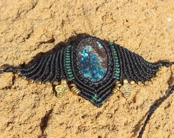 Chrysocolla Macrame arm bracelet/ festival bracelet/women krystal power/Unique desgn/Gemstone jewelry/macrame handmade jewelry/gift
