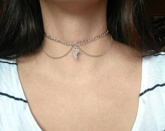 Angel Wing Chain Choker, Collar Choker, Silver Choker with Pendant, Pendant Choker