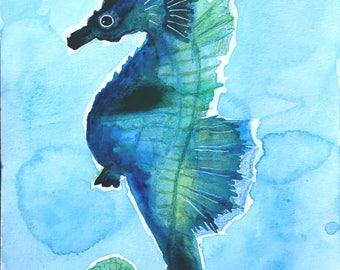 Original Watercolor Hippocampus-sheet to frame without copies