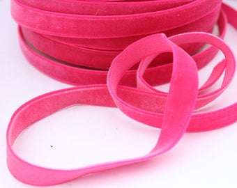 3/8 inch Hot Pink Velveteen Ribbon by the Yard / 10 MM Velveteen Ribbon / Velvet / Hot Pink / ER-V175