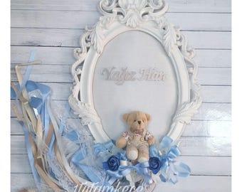 Teddy Bear Door Hanger - Nursery Door Wreath- BabyBoy  Room Decor- Personalized Nursery Decor- Baby Girl- Blue and Brown