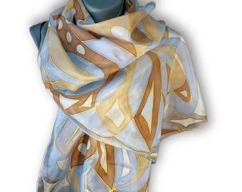 DREAM Hand Painted Silk Scarf / Impressive pattern in beige, walnut brown, pale blue, azure blue, gray / Silk 100%, Pongee type /Hand-hemmed