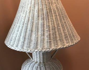 Wicker lamp etsy vintage white wicker lamp aloadofball Images
