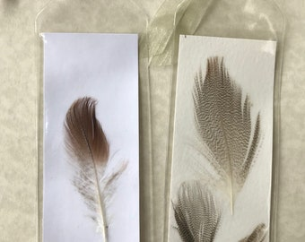 Set of 2 Decoupaged Feather Bookmarks