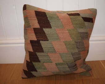 Turkish Handmade Kilim Cushion Cover, 40 x 40cm (16 x 16in), Made From a Vintage Kilim.