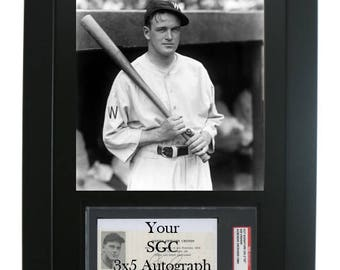 Framed Display for an SGC/JSA Slabbed 3 x 5 Autograph with Vertical 8 x 10 Photo Opening
