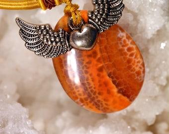 Fire agate heart winged N22
