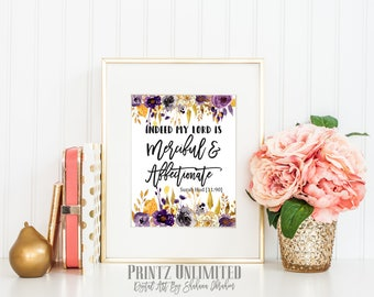 Indeed my Lord is Merciful and Compassionate- Islamic Print-Islamic Digital Art-Islamic quote-Islamic wall art-Quran verse print-Quran Quote