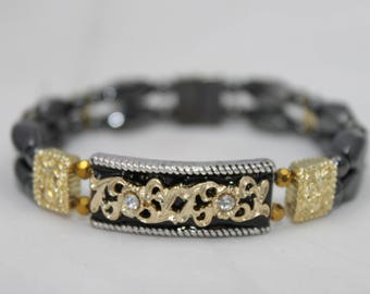 Gold & Black High Quality Magnetic Bracelet