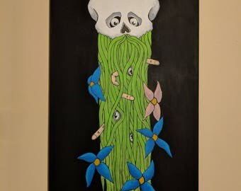"plant-beard skull - Original 18"" x 36"" acrylic on canvas"