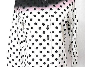 ISSEY MIYAKE. Black/White Polka Dot Long Sleeve Blouse Top