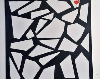 "Abstract canvas painting black & white ""Lost Heart"""