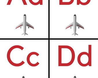 Plane Alphabet Flashcards
