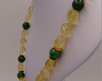 Large Citrine/Citrine necklace with Ruby Zoisite about 98 grams of massive gems