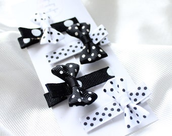 4 Piece Black and White Polka Dot Mini Clip Set, Black and White Clip Set, Baby Clip Set, Girls Clip Set, Black and White Hair Clips