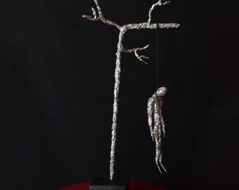 The Hanged Man - Iron & Tin sculpture, Iron sculpture, dark sculpture, mobile sculpture, silvered sculpture, le pendu, sculpture de pendu