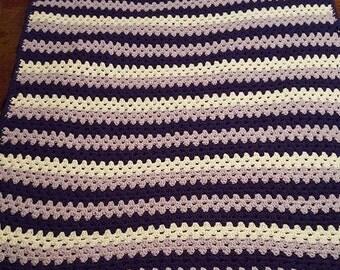 Granny Stripe Afghan-Purple