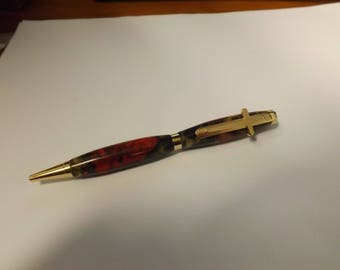 Easter Gift Christian cross on a Slimline twist pen Maple burl