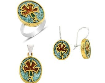 Sterling Silver Hand Made Mosaic Carnation Set with Turquoise, Lapis Lazuli and  Coral : Ring, Earrings and Pendant