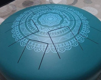 Zen Drum, Handpan, steel tongue drum, big Zen drum 10 notes Turquoise blue with Mandala combi in light blue