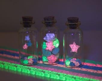Kit 3 Glass Jar Lucky Stars Glow In The Dark Origami