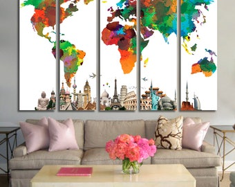 WORLD MAP Art Print Poster, Watercolor World Map Watrcolor Wall Art, Map Poster, World Map Wall Art, World Map Canvas Set, Art Print
