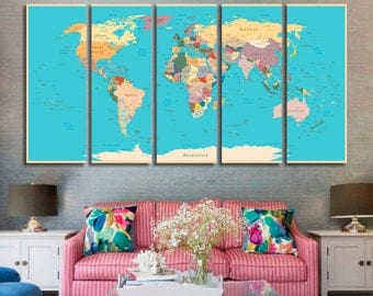 Push Pin Map Travel Map of the World Map Detailed Push Pin Travel Map with Frame World Map for Traveling Gifts for Boyfriend Wall Art