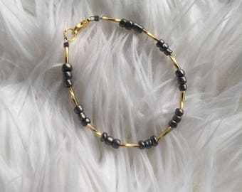 Gray and Gold Beaded Bracelet