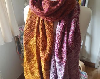 Handknit Colourful Wrap/Scarf in Orange and Pink