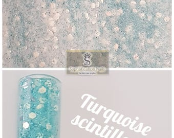 Resin acrylic nails 10gr sparkly Turquoise