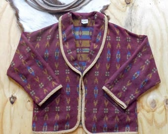 Vintage Koret City Blues Burgundy Geometric/Tribal/Ethnic Print Cardigan