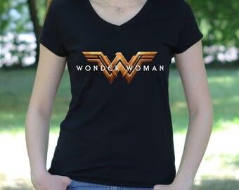 Wonder Woman V Neck shirt  Wonder Woman logo Tee  Wonder Woman tshirt Gift Tshirt Wonder Woman Tshirt  Women's T-shirt  Wonder