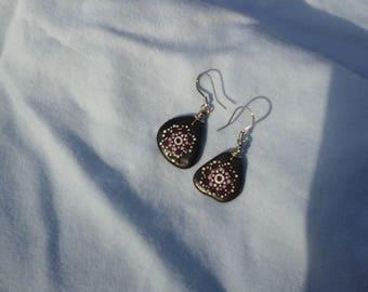 Cranberry Mandala river rock earrings