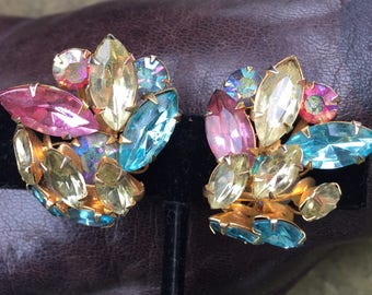 Vintage Pastel Rhinestones Beau Jewels Earrings