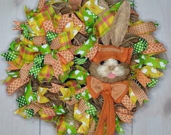 Orange Easter Bunny Wreath, Easter Bunny Wreath ,Easter Wreath, Door Wreath, Wreath for door, Front Door Wreath, Spring Wreath, Home Decor