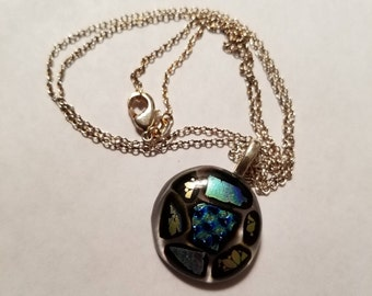 Blue and gold dichroic glass pendant with silver chain