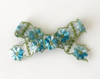 Ombre Blue Floral Bow