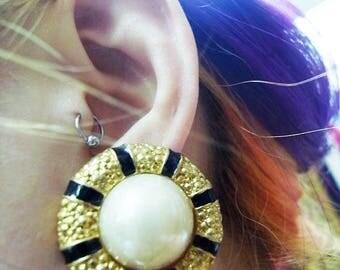 Fiber Street VINTAGE! classic 90s beautiful metal ART! amazing design gold tone vintage earrings / gorgeous! high sense!
