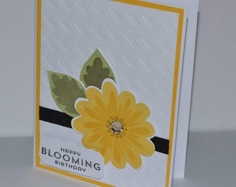 Hand Stamped Bright Bloom Birthday Card