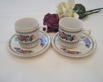 Vintage C. Art HK Demitasse cup end saucer. set of 2, made in China,floral rose with gold trim. circa 1970.