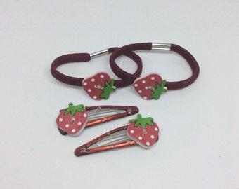 Strawberry hair bobble set.