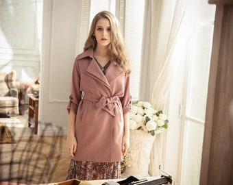 Rose Pink Classic Trench Coat