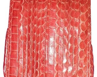 Judith Leiber Red Snakeskin Jewel Closure Cigarette Case