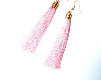 Earrings -- VAHINÉE Long Tassel earrings, pink and gold, by The Sausage