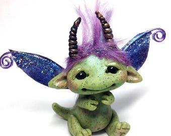 "OOAK Goblin Dragon Trollfling Troll Crystal Faerie ""Clarity"" by Amber Matthies"