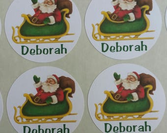 Personalized Vintage Santa Sleigh for Back to School, Name labels, cards, etc set of 20