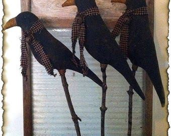 Mailed Paper Pattern~Primitive Crows on Sticks Crock Pokes
